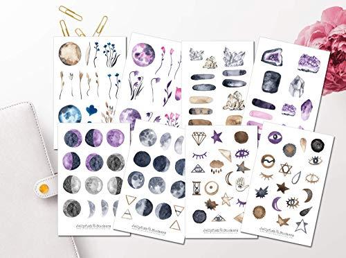Alchemie und Magie Sticker Set | Aufkleber Mond | Journal Sticker | Sticker Wald | Bullet Journal Sticker, Mondphasen