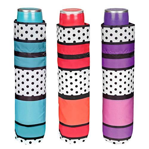 Perletti 25976Lady Mini 54/8Man 3Sekte Streifen/Polka Dots Muster Winddicht Regenschirm
