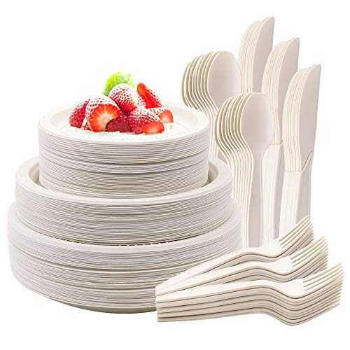 Outime Disposable Plates for 60 guests 360PCS Cornstarch Cutlery Set Eco Friendly Compostable Plates Biodegradable Paper Plate Dinnerware Set Heavy Duty Plates