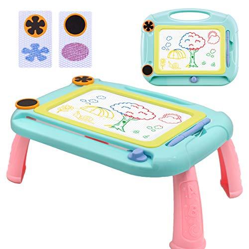 Magnetische Maltafel Zaubertafeln für Jungs Mädchen Kinder ab 3 Jahren, Pädagogische Magnettafel Bunt Löschbar Spielzeug-Geschenk mit 2 Stempeln und Stützfuß, Grün