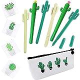 Cactus Bolígrafo de regalo, 6 pcs. Cactus negro tinta de gel Escritura de la oficina Plumas de firma con lienzo de cactus Estuche de lápices lindo para la oficina de la escuela Papelería de cactus