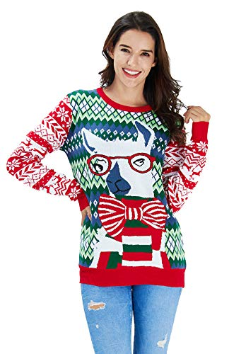 Men Women Ugly Christmas Sweater Holiday Party Xmas Sweater Family Glass Alpaca Llama Snawflake Casual Knitted Pullover Christmas Jumper