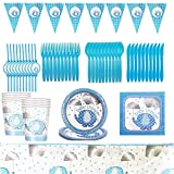 Gxhong Vajilla de Cumpleaños Suministros de Fiesta Vajilla Decoraciones Pancarta Platos Tazas Servilletas Mantel Baby Shower Party Supplies Set 82 Piezas