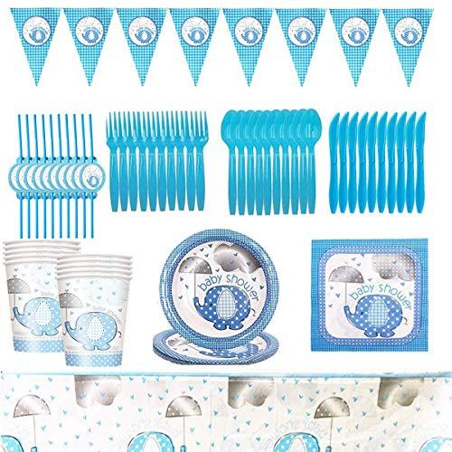 Gxhong Birthday Stoviglie Forniture per Feste per Bambini Decorazioni Stoviglie Compleanno Banner Piatti Tazze Tovaglie Baby Shower Party Supplies Set 82 Pezzi
