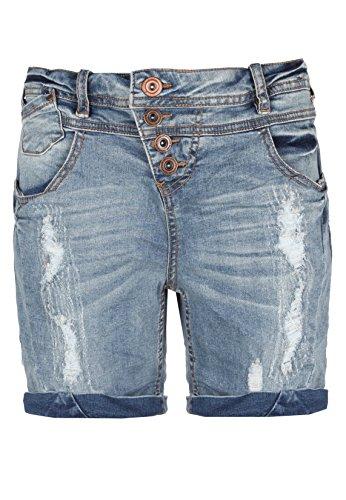 Rock Angel Damen Bermuda Jeans Shorts | Kurze Hose für Frauen mit Destroyed Parts und Used Look Middle-Blue S