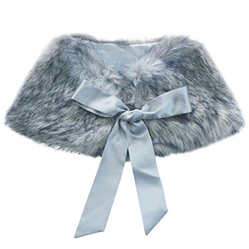 TiaoBug Girls Faux Fur Bolero Shoulder Cape Princess Bridesmaid Tippet Shawl Shrug Grey One Size