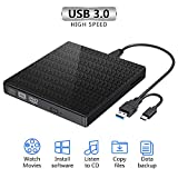 Strenter unità CD Dvd Esterna, masterizzatore e Lettore CD-RW/VCD-RW Portatili USB 3.0 di Tipo C Dual Port Slim a Basso Rumore per MacBook, Laptop, Desktop, Win 7/8/10 / XP