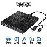 Unità CD DVD esterna, masterizzatore e lettore CD-RW/VCD-RW portatili USB 3.0 di tipo C Dual Port Slim a basso rumore per MacBook, laptop, desktop, Win 7/8/10 / XP