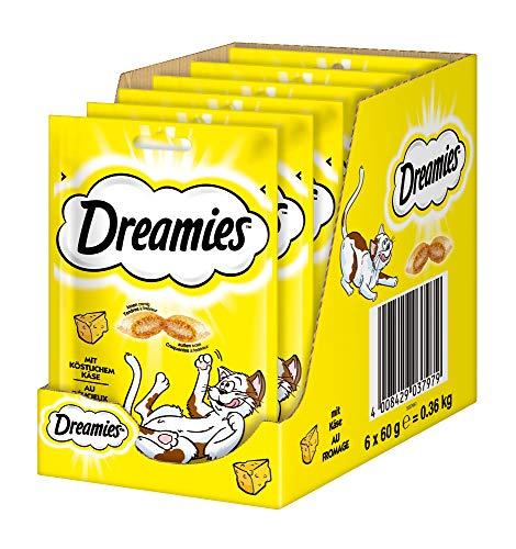 Dreamies Klassiker Katzensnacks mit Käse – Traumhaft knusprige Taschen mit zarter Füllung – 6 x 60g