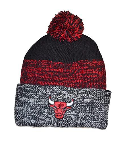 '47 Chicago Bulls Black Cuff Static Beanie Hat with Pom Pom - NBA Fashion Cuffed Winter Knit Cap