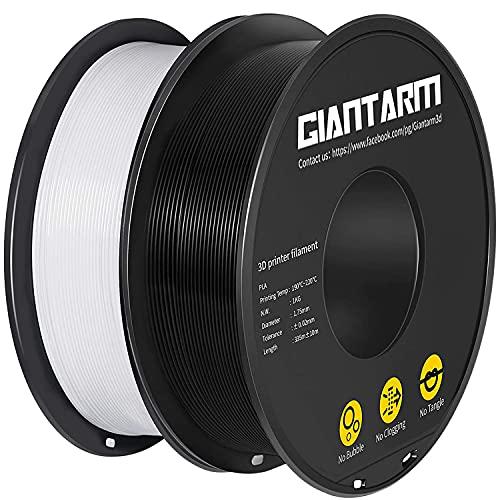 GIANTARM PLA filament para impresora 3D 1.75 mm, 3D printer filament (negro + blanco) 2PCS