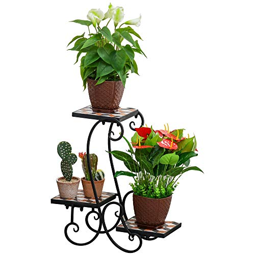 Outsunny Blumenregal Pflanzenständer Blumenbank Mosaiktisch Kachel Metall für drinnen und draußen Schwarz