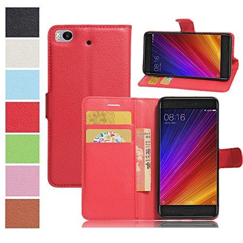 MAXKU Xiaomi Mi 5c Hülle, Premium PU Leder Mappen Kasten für Xiaomi Mi 5c Smartphone, Rot