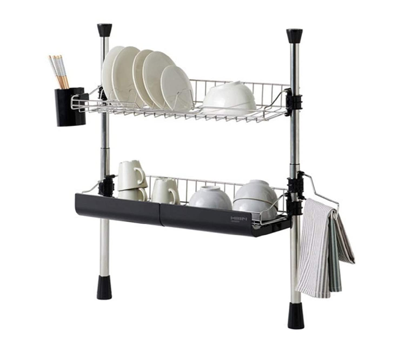 唇性能原因HANSSEM Multipurpose Lathe for Kitchen シンク上 突っ張り 水切りラック 2段 ステンレス デラックスタイプ(幅64cm)[並行輸入品]