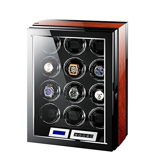 12 + 0 Luxus Holz Uhrenbeweger Aufbewahrungsbox, LCD Touch Screen + Fernbedienung Uhr Aufbewahrungsboxen Mit 5 Arten Von LED-Leuchten Uhrenbox