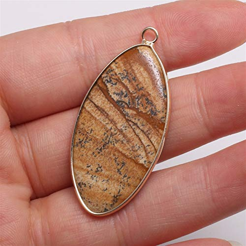 ABCBCA Águaces de Piedra Natural Colgantes Forma de Ojos de Caballo Forma Exquisita del Encanto para la fabricación de Joyas de Bricolaje Publicidad Pulsera Accesorios (Metal Color : Picture Stone)