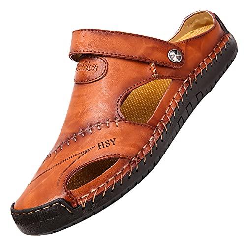 Sandalias deportivas para hombre, zapatillas de jardín interiores para hombres, zapatillas de senderismo, zapatillas clásicas de ducha de goma para zapatillas de jardín para hombres, marrón, 41/42 EU