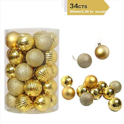 "Christmas-Ball-Ornaments 6 Style Plastic Shatterproof Christmas-Decorations Perfect Christmas Hanging Ball Baubles Set for Xmas Tree Wedding Party Décor Hooks Included (2.36""/60mm Gold)"