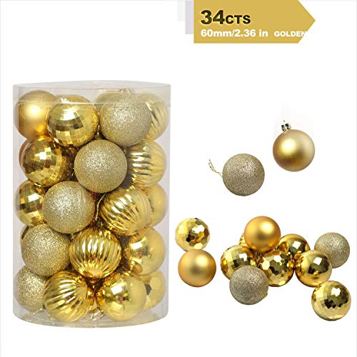 Christmas-Ball-Ornaments 6 Style Plastic Shatterproof Christmas-Decorations Perfect Christmas Hanging Ball Baubles Set for Xmas Tree Wedding Party Décor Hooks Included (2.36'/60mm Gold)
