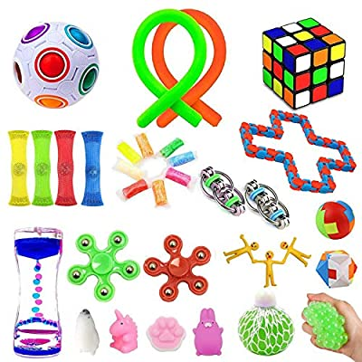 32 Pack Sensory Fidget Toys Set?Stress Relief Hand Toys for Adults Kids ADHD ADD Anxiety Autism, Perfect for Birthday Party Favors, School Classroom Rewards, Carnival Prizes, Pinata Goodie Bag Fillers by ChicFunhood