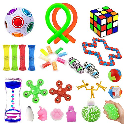32 Pack Sensory Fidget Toys Set,Stress Relief Hand Toys for Adults Kids ADHD ADD Anxiety Autism, Perfect for Birthday Party Favors, School Classroom Rewards, Carnival Prizes, Pinata Goodie Bag Fillers