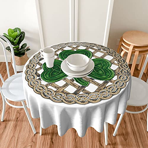 Shamrock Lattice and Celtic Knots Round Tablecloth 60 Inch Anti Wrinkle Leakproof Resistant for Kitchen Dining,Party,Holiday,Christmas,Buffet,Picnic