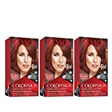 REVLON Colorsilk Beautiful Color Permanent Hair Color with 3D Gel Technology & Keratin, 100% Gray Coverage Hair Dye, 35 Vibrant Red, 4.4 oz (Pack of 3)