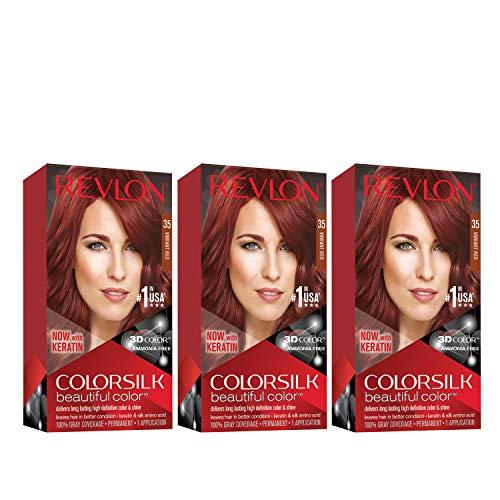 Revlon Colorsilk Beautiful Color, Vibrant Red, 3 Count