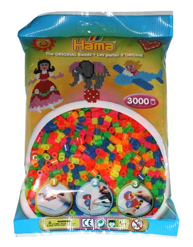 Hama 201-51 - Paquete de 3000 Cuentas de Colores Fluorescentes