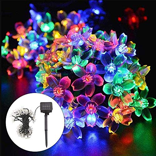 Christmas Decoration Solar String Lights, 8 Modes 50 LED Flower Fairy Lights Solar Powered Waterproof Outdoor String Lights for Garden Patio Yard Wedding Indoor Bedroom Decor for Decoration Anywhere