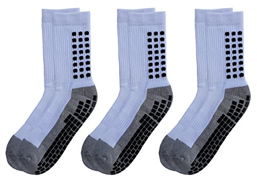 Deluxe Anti Non Skid Slip Slipper Hospital Maternity Socks with grips for Adults Men Women (Large, 3 pairs-white)