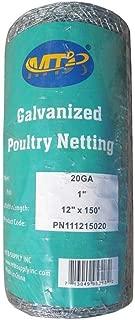 MTB 20GA Galvanized Hexagonal Poultry Netting Chicken Wire 12 inches x 150 feet x 1 inch Mesh
