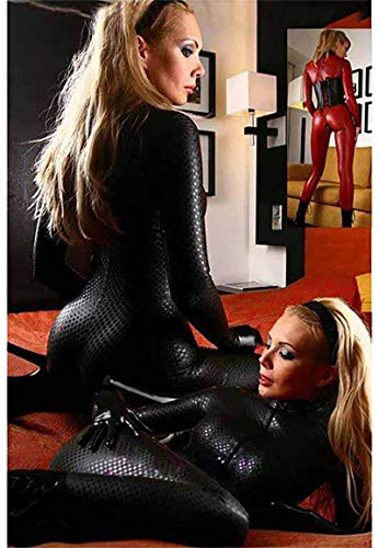 Sexy Women's Latex Catsuit Clothing PVC Shiny Snakeskin Catsuit Faux Leather Open Crotch Jumpsuit Wet Look Club Clothing (Black,S)