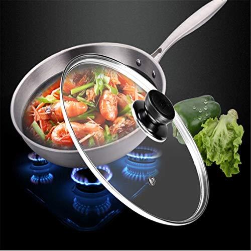 Frey Pan Lids Wok Pan Tapa de la tapa de acero inoxidable Potilla Freír sartenes Tapa para la estufa de gas PAN Tapa para el hogar Jardín de cocina Accesorios (Color : 28cm)