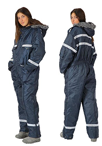 Unisex Navy Blue Snowsuit Winter Clothing Snow Ski Suit Coverall Insulated Suit with reflector, M