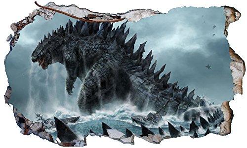Chicbanners Godzilla 3D V002 Magisches Fenster-Wandaufkleber, selbstklebend, Größe 1000 mm breit x 600 mm tief (groß)