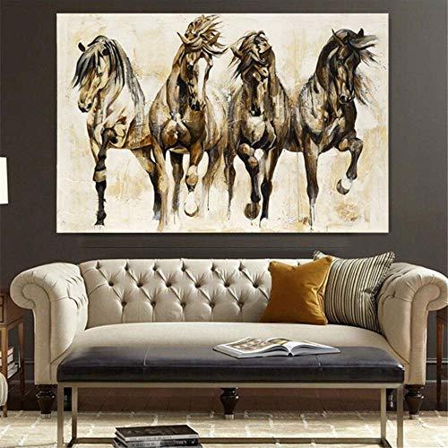 Danjiao Vintage Poster Leinwanddruck Wandkunst Tier Pferd Leinwand Malerei Poster Und Drucke Wandbilder Für Wohnzimmer Wohnkultur Wohnzimmer 60x90cm