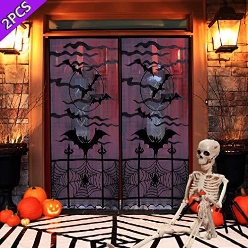 JORITY Halloween-Dekoration, Schwarze Spitze, Fenstervorhänge, Spinnennetz, Fledermaus, Türvorhang, Küche, Tischläufer, Duschvorhang für Urlaub, Party, Dekoration, 101,6 x 213,4 cm