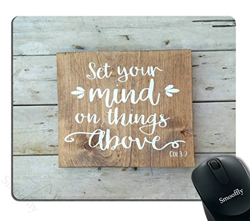 Smooffly Gaming Mouse Pad Custom, Bible Verse Wood Signs Sayings Wall Art Scripture Faith Sign,Personalized Design Non-Slip Rubber Mousepad