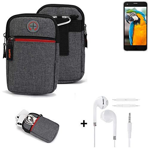 K-S-Trade® Gürtel-Tasche + Kopfhörer Für Vestel V3 5040 Handy-Tasche Holster Schutz-hülle Grau Zusatzfächer 1x