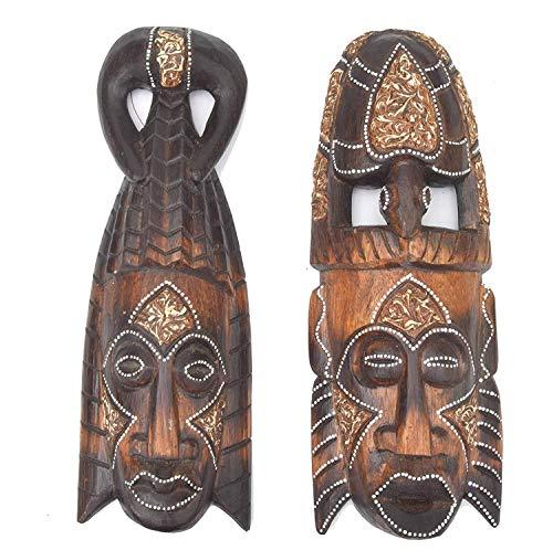 Interlifestyle 2 maskers 30 cm in Afrika stijl set van twee houten masker muur masker schildpad stam