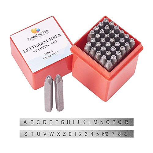 PandaHall Elite 36 Pcs Letter and Number Metal Stamp Set, 1/20 inch 1.5mm Alphabet A-Z and Number 0-9 and Symbol, Iron Uppercase Stamps Punch Press Tool for Imprinting on Metal Jewelry Leather Wood