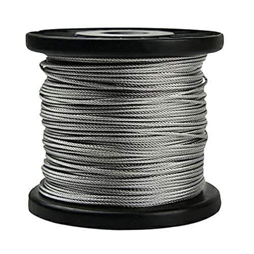 AIMIMI Rostfritt stål vajer 180 x 180 cm 304 rostfritt stål vajer rep kabel för räcke trall balustrade stränglampor, 0,5 mm