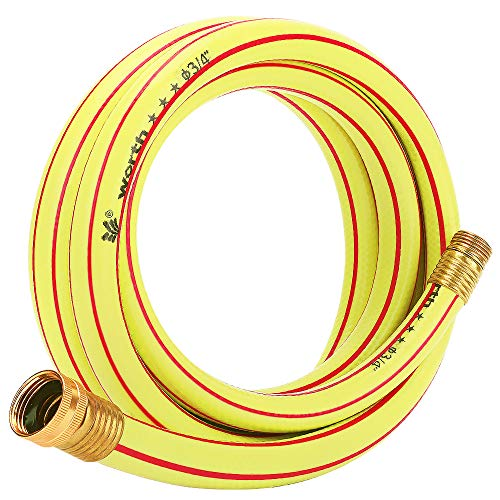 Solution4Patio Homes Garden 10 ft. Short Hose 3/4 inch Yellow Lead-Hose Male/Female Commercial Brass Coupling Fittings for Water Softener, Dehumidifier, Vehicle Water Filter 5 Years Warranty #H163A09