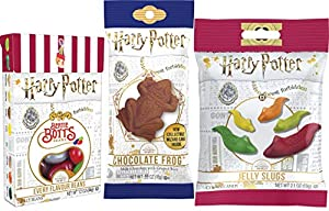 Bundle of 3 Harry Potter candy items Includes Harry Potter Jelly Slugs, Harry Potter Signature Movie Jelly Beans and Chocolate Frog Comes with Collectible Wizard Card A great gift for any Harry Potter fanatic! Party favors, Stocking Stuffer Kids love...