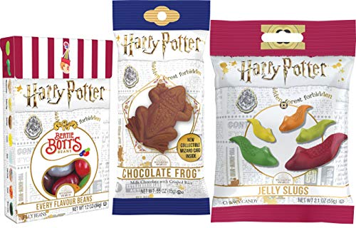 Harry Potter candy collection chocolate frog, Bertie Botts beans, jelly slugs.