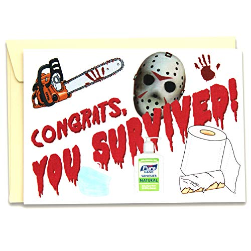 Funny Rude Quarantine Happy Birthday Card, Quarantined Gift, Social Distancing Graduation Congratulations Card - Congrats, You Survived - Folded Greeting Card with Envelope, Blank Inside