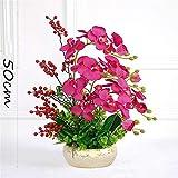LHY DECORATION Orchidée Artificielle Fleur, Flore Faux Phalaenopsis avec Pot Arrangement Home Décor Céramique,Violet