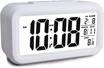 eYotto Digital Alarm Clock, Easy to Set, 4.6'' Multi-Function Large Display Desk Clock Battery Operated Temperature Calendar Backlight Snooze for Home Kitchen Bedroom Office Travel