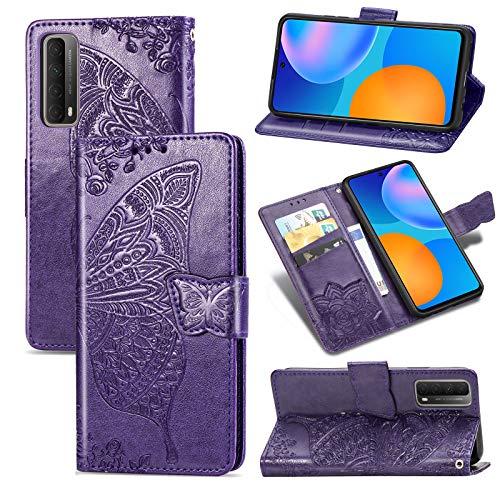 TOPOFU Huawei P Smart 2021 Hülle Flip Lederhülle,Schmetterling Muster Magnetische PU Wallet Ledertasche mit Ständer Kartensteckplätze Handyhülle für Huawei P Smart 2021-Lila
